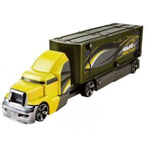 Caminhão Hot Wheels Batida com Veículo Verde e Amarelo Mattel