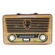 Radio Portatil Bluetooth Vintage Retro Luxo Com Usb Sd Em Madeira Mdf Recarregavel