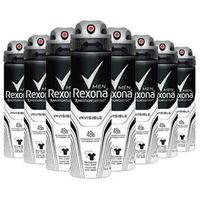 Kit 8 Desodorante Rexona Invisible Masculino Aerosol 90g