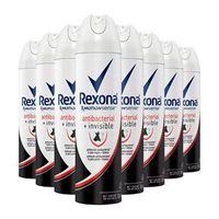 Kit 8 Desodorante Aerosol Rexona Antibacterial Invisible Feminino 150ml