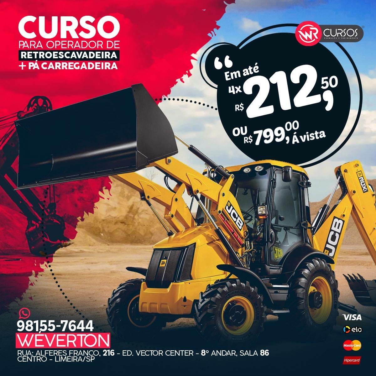 CURSOS OPERADOR DE RETROESCAVADEIRA + PÁ CARREGADEIRA