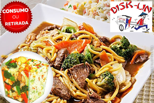 Delivery ou Retirada no local!! Executivo Disk-Lin: 450g de Yakisoba + 450g de Risoto Shop Suey, por 15,99. Serve 2 pessoas!