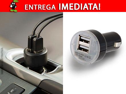 Carregador Veicular com Duplo USB por apenas 32,90! Entrega Imediata com Frete Incluso para todo o Brasil!