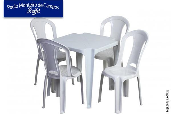 Aluguel conjunto de 4 cadeiras+1 mesa+toalha, no Paulo Monteiro de Campos Buffet. Por apenas R$ 10,00 o conjunto.